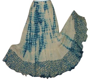 Etcetera Boho Tie Dye Festival Summer Of Love Maxi Skirt Blue Green