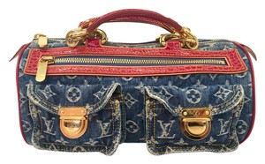 Louis Vuitton Denim Alligator Speedy Limited Edition Tote in Blue and Red