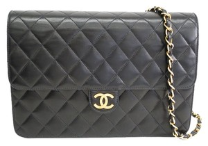 Chanel Single Flap Lamb Skin Quilted Chain Shoulder Bag