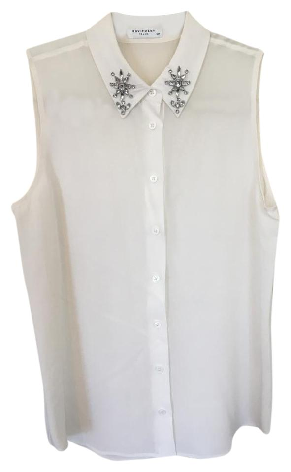 b247df3a617c9 Equipment Embellished Crystals Sleeveless Silk Button Down Shirt White  Image 0 ...