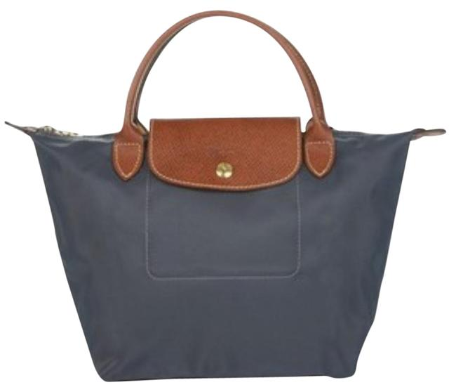 Item - Small Short Tote Dark Grey with Brown Handles Nylon Satchel