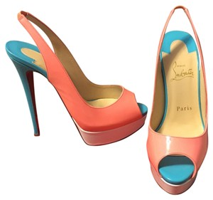 Christian Louboutin Coral, White and Teal Blue Platforms