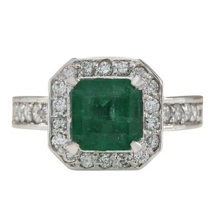 Fashion Strada 3.32CTW Natural Emerald And Diamond Ring In 14K White Gold
