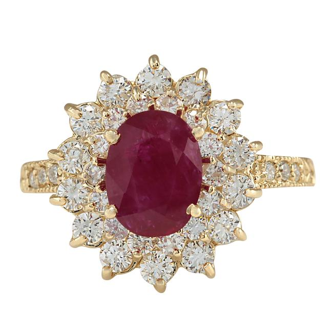 Fashion Strada 3.28ctw Natural Ruby and Diamond In 14k Yellow Gold Ring Fashion Strada 3.28ctw Natural Ruby and Diamond In 14k Yellow Gold Ring Image 1