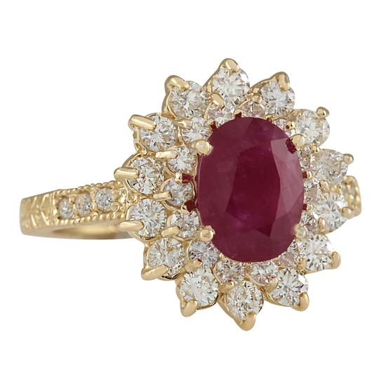 Fashion Strada 3.28CTW Natural Ruby And Diamond Ring In 14K Yellow Gold