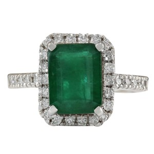 Fashion Strada 3.61CTW Natural Emerald And Diamond Ring In 14K White Gold