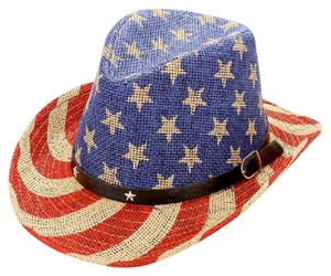 Sun Hat American flag _ straw cowboy fedora hat with star faux leather buckle