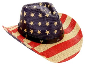 Sun Hat American flag   straw cowboy fedora hat with star faux leather  buckle 6a4a940a9e6