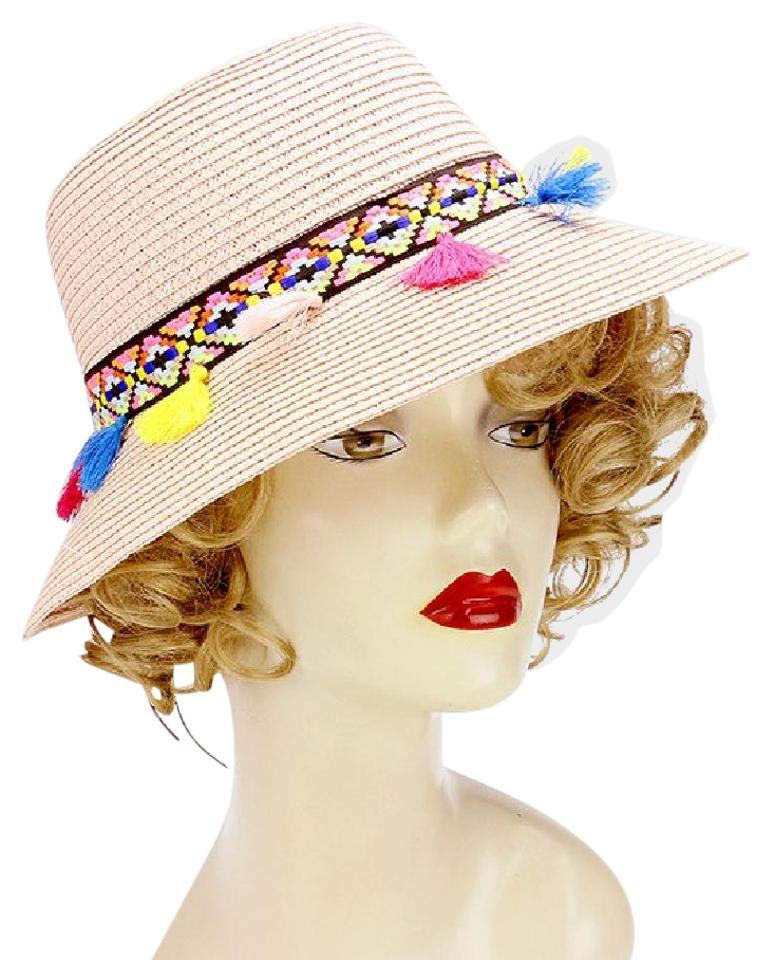 Sun Hat New Rainbow tassel short brim sun hat with faux suede ribbon tie ... d857f4319a7