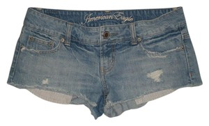 American Eagle Outfitters 5 Pocket Zip Fly Low Rise 100% Mini/Short Shorts Blue