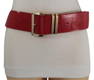 Other Women Belt Hip Waist Red Faux Leather Gold Metal Buckle Plus Size