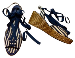 Montego Bay Club Stripes Man Made Lace Up Wedges