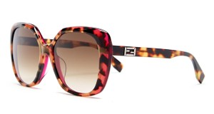 Fendi FENDI Women's Pink Orange Havana Acetate Rectangle Sunglasses