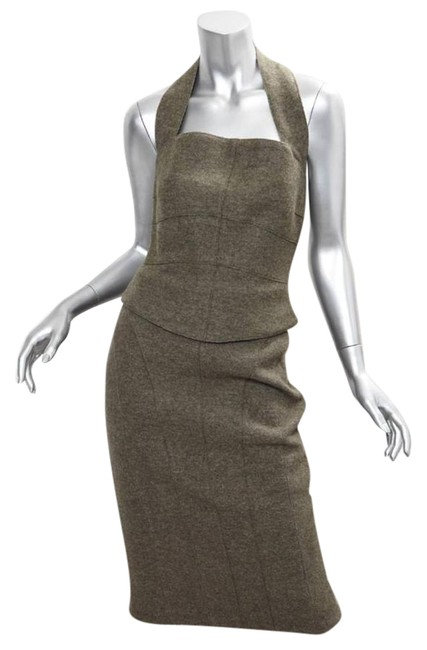 Item - Green Identification Womens Wool Halter Top Pencil Skirt Outfit Set Mid-length Short Casual Dress Size 6 (S)