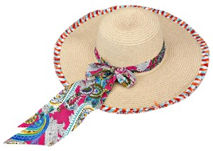 Sun Hat New Dressy Paisley Pattern Bow Accented Sun Hat