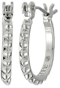 Rebecca Minkoff Silver Tone New Rebecca Minkoff Studded Hoop Earrings