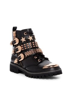 Ivy Kirzhner Size 9 Leather Black with Gold Boots
