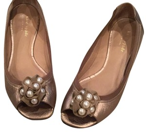 Kate Spade antique gold with pearls Flats