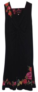 Johnny Was short dress black Sleeveless Embroidered V-neck Cotton Floral on Tradesy