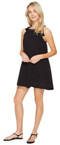 SeaFolly New Romantic Lace Trim Cover Up Dress Size XL Black NWT