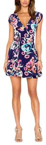 Yumi Kim short dress Blue Silk Black Floral Classic Sleek Chic Soho Mixer Mini Wrap Around on Tradesy