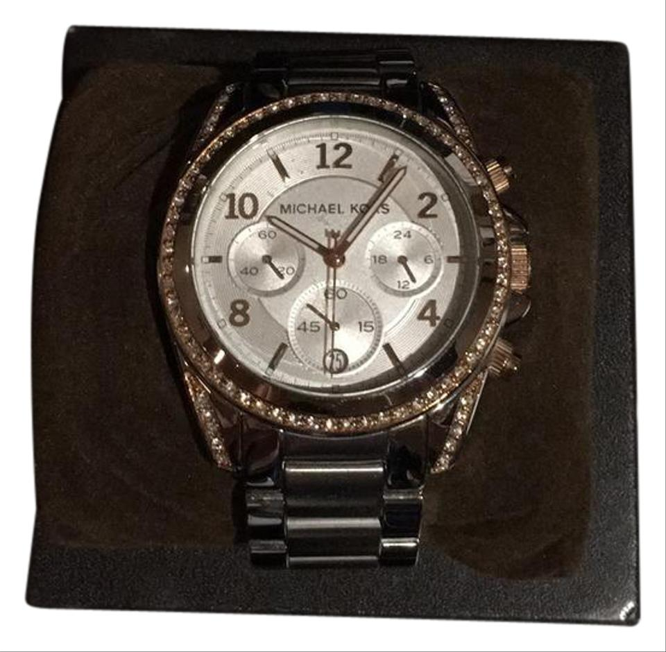 4da36167dae7 Michael Kors Silver and Rose Gold Diamonds Around The Face Watch ...