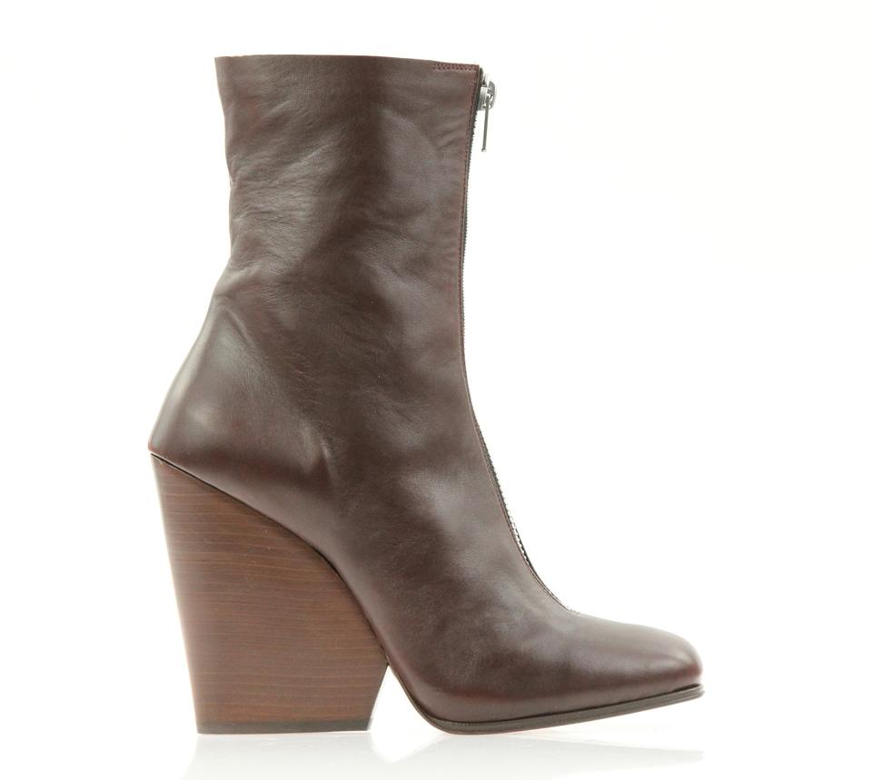 c3cf642c287 Céline Brown Leather Zip Front Square Toe Wedge Boots Booties Size ...