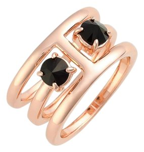 Rebecca Minkoff Pretty Rose Gold Tone 2 Piece Puzzle Ring Black Stones 7