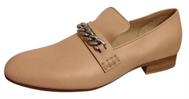 Item - Light Beige Nude Leather Chain Detail Smoking Slipper Loafers Moccasin Flats Size EU 38 (Approx. US 8) Regular (M, B)