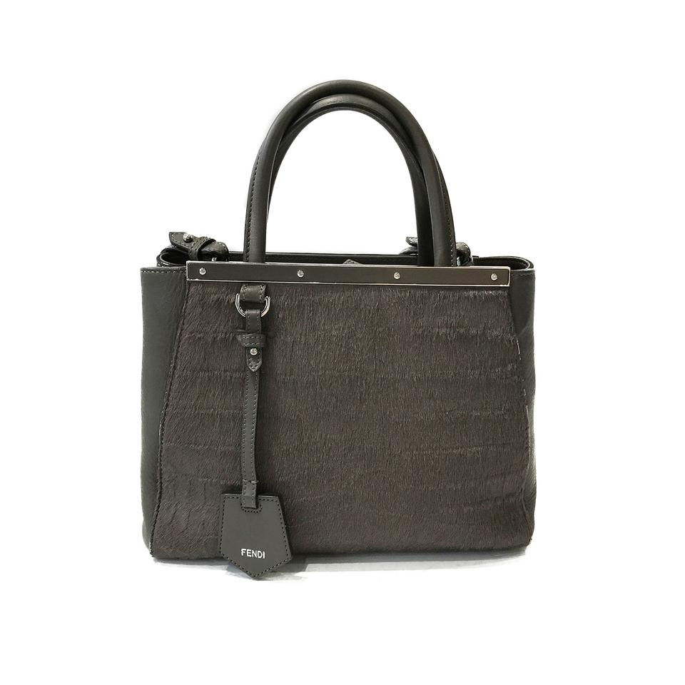 454af5c27878 Fendi  petite 2jours Elite  Leather Fur Grey Leather and Horse Hair ...