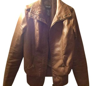 Taxi Faux Brown Leather Jacket