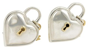 Tiffany & Co. Heart Padlock & Key 925 Silver & 18k Yellow Gold Post Clip Earrings