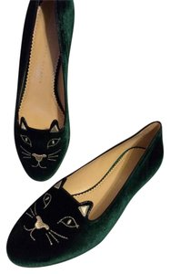 Charlotte Olympia Kitty Cat Velvet Velour Green Flats