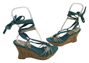 Bandolino Base Blue fabric silver strappy leather long wrap around ankle ties open toe cork Wedges
