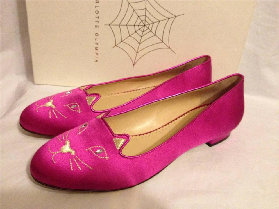 Charlotte Olympia Fuchsia Pink Kitty Cat Embroidered