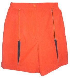SKIVA Int. Bright Colorful Unique Cutout Peekabo Cuffed Shorts red