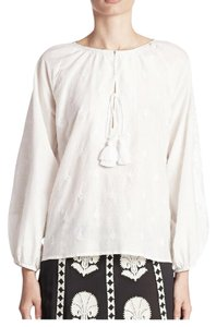 Figue Embroidered Tassels Top White
