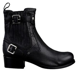Dior Cannage Motorcycle Buckle Biker Black Boots