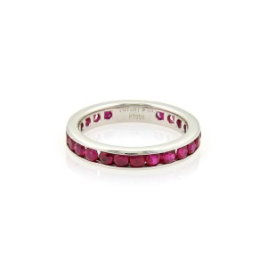 Tiffany & Co. 1ct Ruby Platinum Full Circle Band Ring Size 4.5