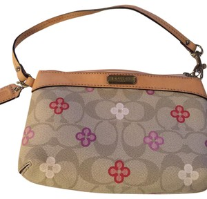 Coach Wristlet in beige/taupe w/ pink, white, red small flowers