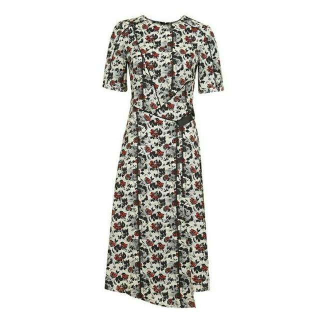 Item - Black/White/Red Scratch Floral Mid-length Short Casual Dress Size 4 (S)