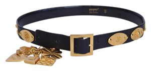 Chanel Womens Black Leather Gold Tone Charms Stamped Plates Waist Belt