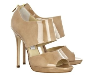 Jimmy Choo Stiletto Sandal Hollywood Peep Toe Nude Pumps