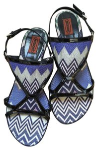 Missoni Made In Italy Patent Leather Silver Hardware Multi-colored Sandals