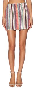 Debo Debo Mini Stripe Fashion Detailed Mini Skirt Pink Multi