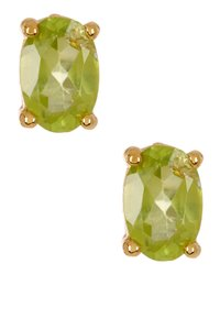 Savvy Cie Savvy Cie 14K Gold Plated Sterling Silver Green Peridot Stud Earrings