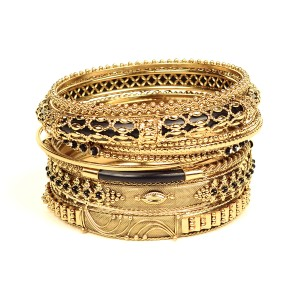 Amrita Singh AMRITA SINGH Belle Bangle Set Black Gold S or L