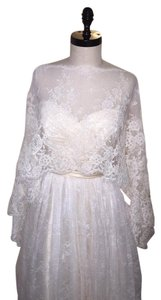 Pronovias Off White Alecon Lace On Tulle Poncho 192 Only New Formal Wedding Dress Size OS (one size)