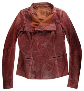 Rick Owens Leather Moto Brown Leather Real Leather Chestnut Leather Jacket