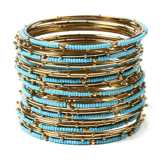 Item - Gold Turquoise L New Goa Set Of 21 Bangles and S Or Bracelet